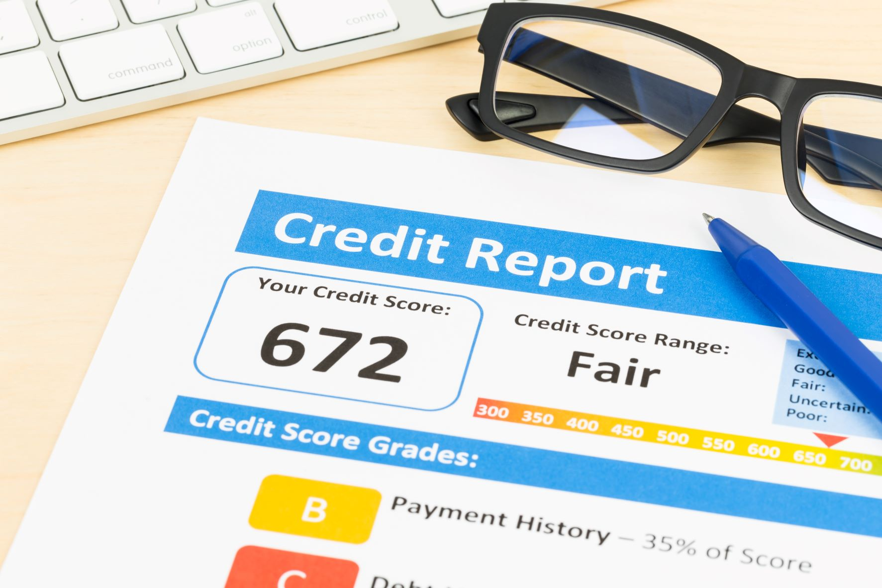 credit report on a table